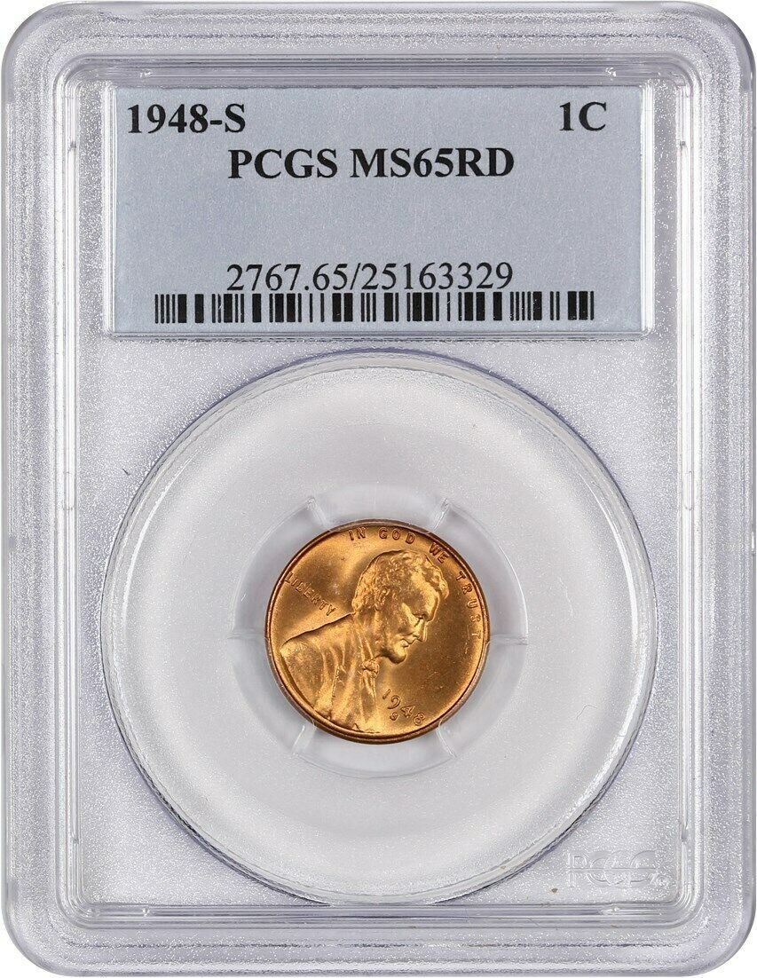 1948-S 1c PCGS MS65 RD - Lincoln Cent