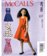McCall's M7180 Girls Dresses Sewing Pattern Childrens Kids Sizes 3-4-5-6  - $6.45