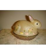 Fenton Hand Painted Covered Bunny Rabbit Dish - $49.99