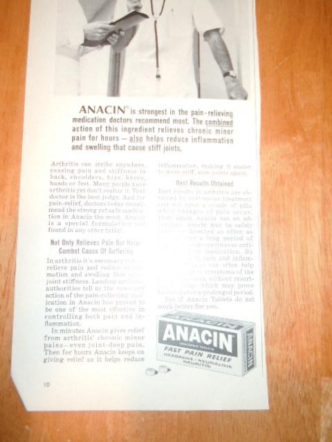 Vintage Anacin Print Magazine Advertisement and 50 similar items