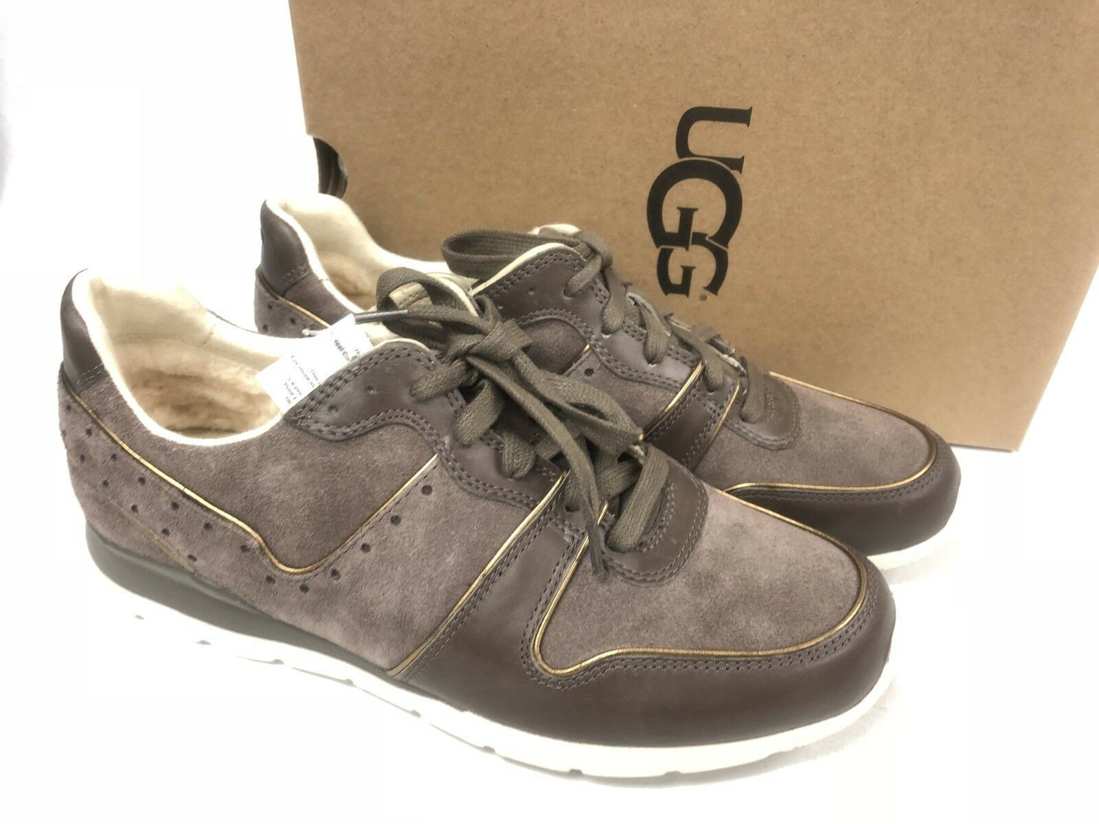 Ugg Australia Deaven Mouse Gold Suede Lace Up Shoes Tennis Sneakers 1019655