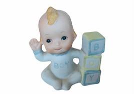 Antique Porcelain Figurine vtg gift decor sculpture Baby Boy Blocks ABC ... - $17.37