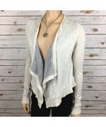 Free People Cardigan Drape One Clasp Closure Gray Sweater S Small Fray - $25.99