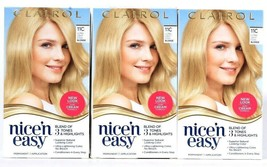 3 Boxes Clairol Nice N Easy 11C Ultra Light Cool Blonde Permanent Hair Dye Cream - $26.99