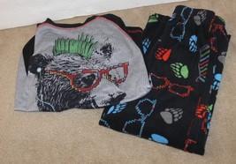 Circo Boy Black Red Gray Punk Bear Fleece  Pants Pajama Set Size S ek - $7.99