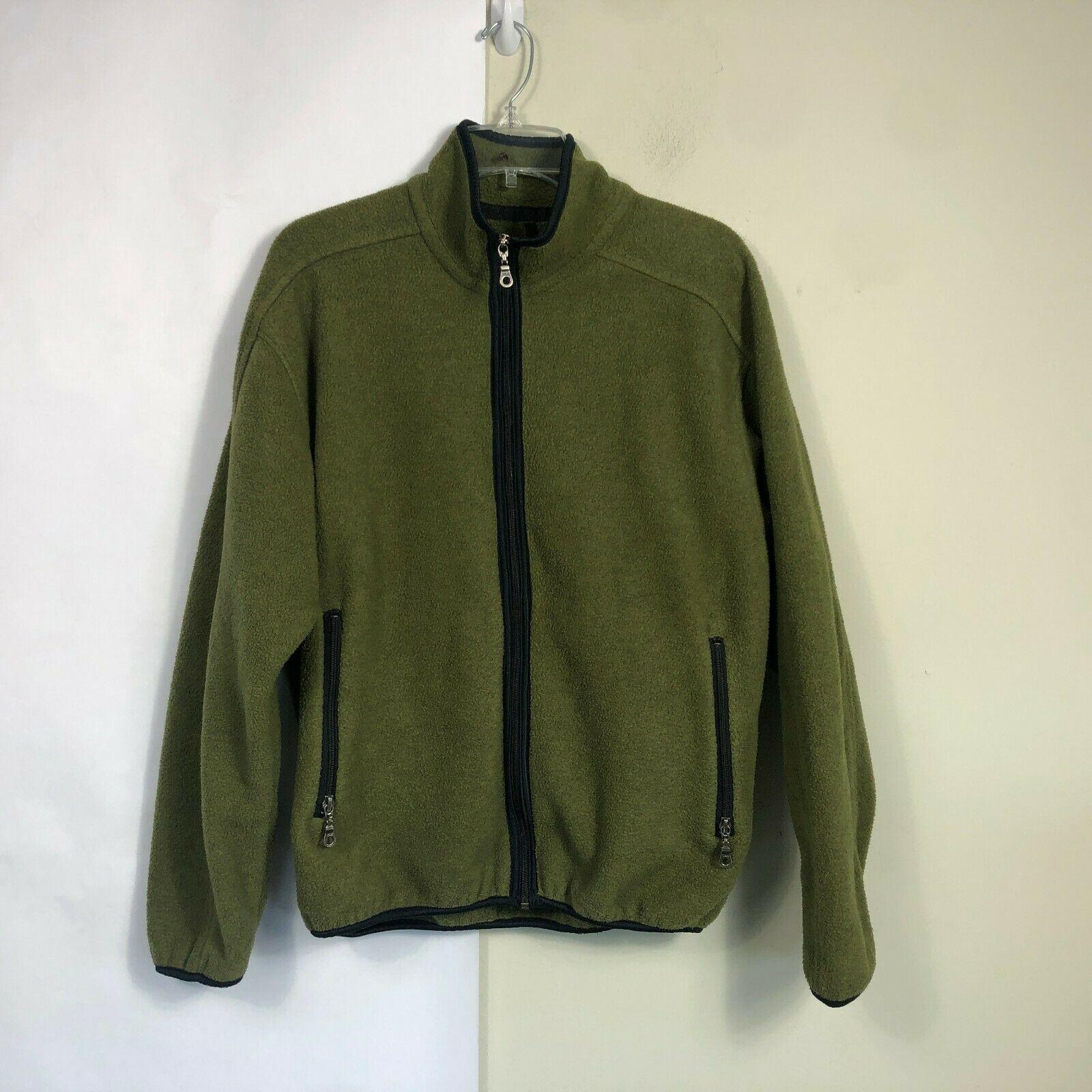 WoolRich Fleece Jacket Men's Medium Olive Green Full Zip Thick Fleece image 10