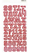 American Crafts Thickers Red & White Letter Stickers in Letterman Style image 2