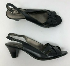 FURNEN NATURALIZER Slingback Heels Womens 10 Black Leather Peep Toe A45-11 - $24.14