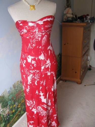 DONNA RICCO Cocktail White and Red Strapless Dress Size 2 100% Silk