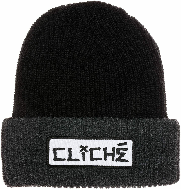 Cliche Herren Schwarz/Grau Dressen Bündchen Fach Über Skateboarding Mütze Neu