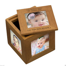 Personalised OAK 5 PHOTO KEEPSAKE BOX Cube New Born Christening Memories... - $38.48