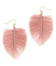 Blush Pink Thread Monstera Leaf Earrings Drop Hook Dangle - $14.99
