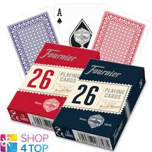 2 DECKS FOURNIER 26 PLASTIC COATED BRIDGE PLAYING CARDS RED BLUE STANDAR... - $8.37