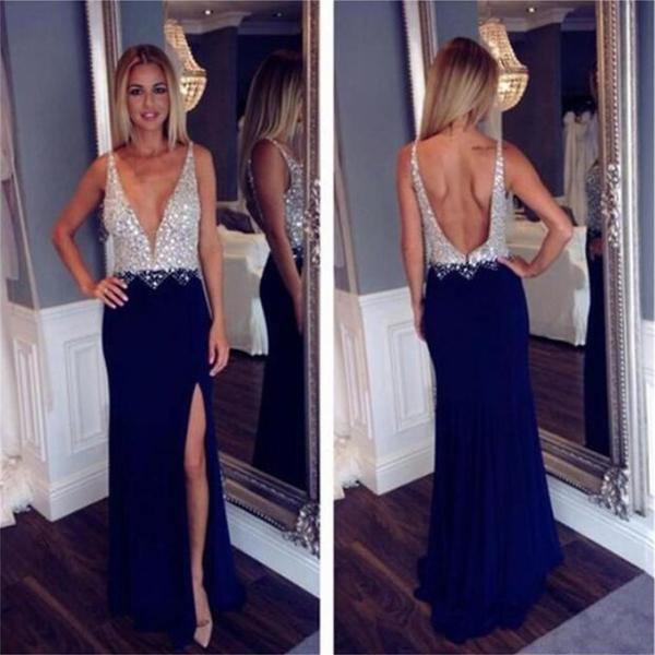 Deep v neck open back side slit fashion popular party  newest prom dresses online pd0088