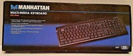 Manhattan Multi Media Keyboard USB Black Model 177788 NEW - $817,62 MXN