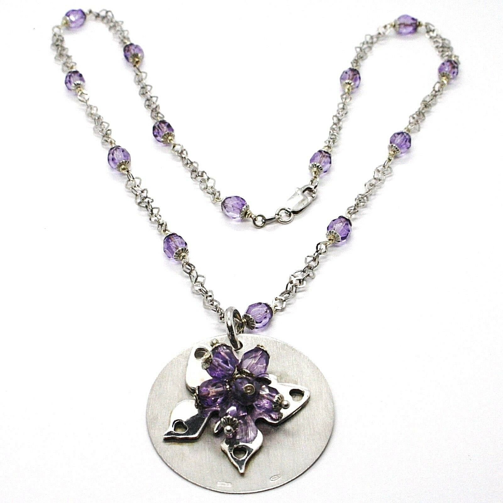 Necklace Silver 925, Disco Pendant, Butterfly Superimposed, Spheres Purple