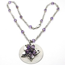 Necklace Silver 925, Disco Pendant, Butterfly Superimposed, Spheres Purple image 1