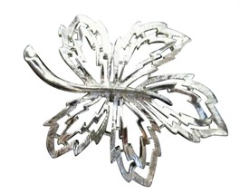 Vintage Silver Toned Brooch Pin Costume Jewelry Leaf Large Maple RL-37 - $15.84