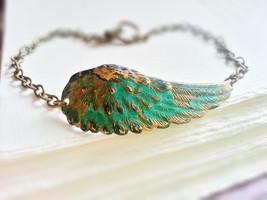 Patina Angel Wing Bracelet Patina Wing Charm Bracelet Wing Cuff Bracelet - $32.00