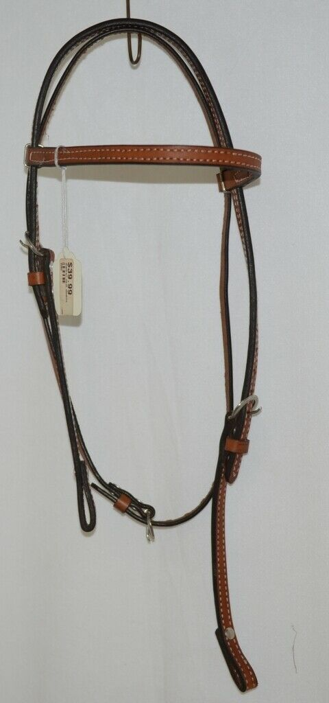 Unbranded 2593 Leather Double Buckle Browband Headstall Brown Color