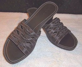 Size 11 Sandals Chocolate Brown Wedge Heels Strappy DOCKERS Slip On Leather - $19.75