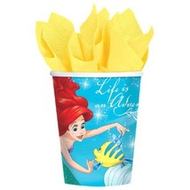 Ariel Dream Big 8 9 oz Hot Cold Paper Cups Birthday Party Little Mermaid - $4.55