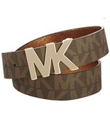 MICHAEL KORS BELT UNISEX BROWN PRINTED MK LOGO GOLD MK LOGO BUCKLE  - $39.15