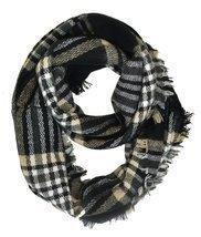 Modadorn Gradation Big Cable Knit Infinity Scarf (Gingham Plaid Pattern ... - £9.63 GBP