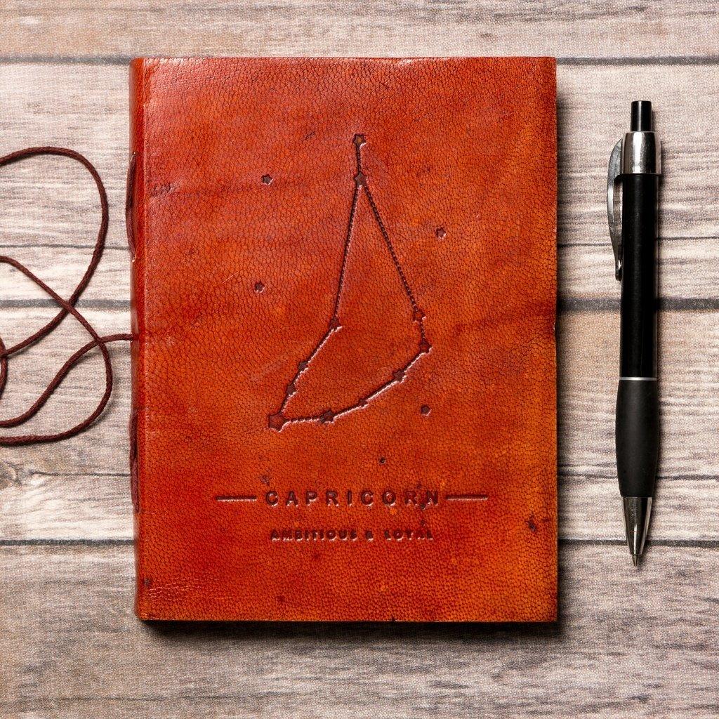 Capricorn Zodiac Handmade Leather Journal