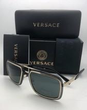 Neu Versace Sonnenbrille MOD.2183 1252/87 63-12 Gold & Schwarz Aviator mit /
