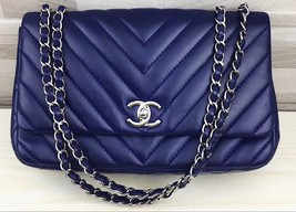Authentic Chanel Royal Blue Chevron Quilted Lambskin Medium Classic Flap Bag SHW