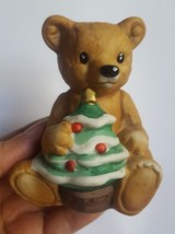 VINTAGE Homco Bear Figurine Holding Christmas xmas Tree 5505 teddy pre-owned - $15.79