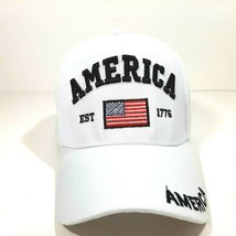 America Est 1776 Mens Embroidered Hat Cap White Adjustable Strap Acrylic... - $8.90