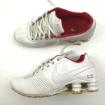 Nike Shox Damen Weiß Sneakers Schnürer Niedriges Top Goldrand Leder Größ... - $28.65