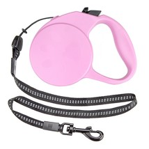 Dog Leash Small, Pink Retractable Sturdy Dog Leash 10ft, With Safety Ribbon - $19.99