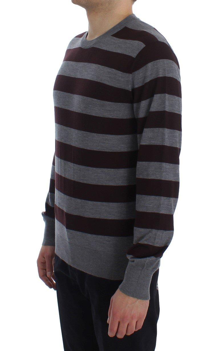Dolce & Gabbana Brown Gray Striped Cashmere Pullover Sweater 20547