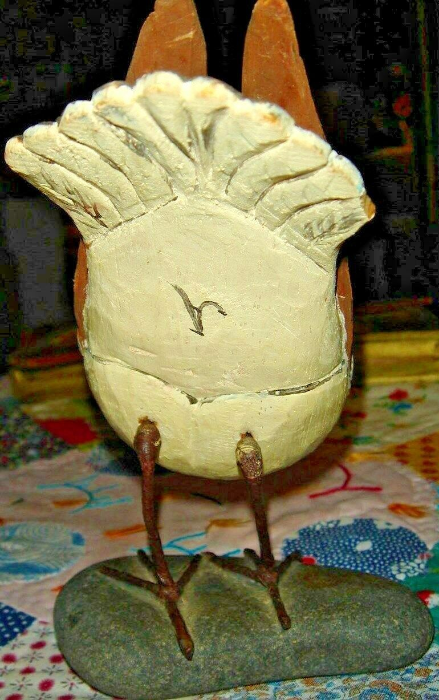 VTG HAND CARVED HANDPAINTED BIRD ON ROCK DUCK BURL WOOD STANDING DUCK OOAK LOT