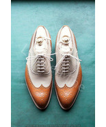 Men's handmade cognac and cream leather wingtip shoes.Two tone leather s... - $159.99+