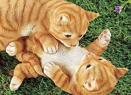 Orange Tabby Cat Playing Kittens Cats Home Patio Garden Decor Pet Lovers... - $49.45