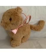 Gymboree 2010 Tan Kitty Cat Plush Child Purse Pink Satin Bow Stuffed Ani... - $14.99