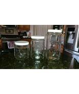 "3 Golden Harvest Vintage Square Glass Embossed Canisters 9.25"" 7.25"" & 5... - $49.56"