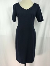 Talbots Women Dress Knit Short Sleeve A Line Split V Neck Blue Size 8 - $21.55