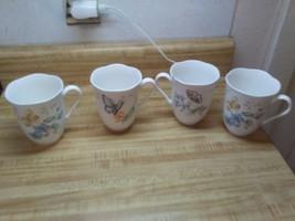 Lenox porcelain butterfly mugs orange sulfer eastern tailed blue - $37.95