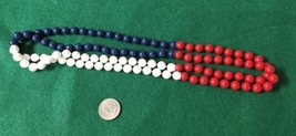 Vintage Necklace, Red, White and Blue Plastic Beaded Necklace, Inv1263, - $10.00