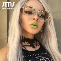 Fashion Oversized Cat Eye Glasses Frames Women Sexy Red Blue Diamond Sunglasses