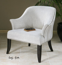 ALABASTER WHITE LINEN & COTTON ACCENT CLUB OFFICE CHAIR NAIL HEADS BLACK... - $877.80