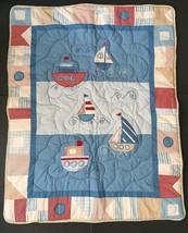 Nautical Sailboats Baby Quilt Sailboat Steamboat Ship Rope Cord Trim Boy... - $39.59
