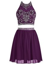Short Chiffon Two Piece Homecoming Dresses Beaded Prom Dresses for Women Party - $138.00