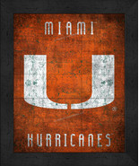 "Miami Hurricanes ""Retro College Logo Map"" 13x16 Framed Print  - $39.95"