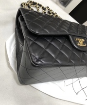 100% Authentic Chanel BLACK QUILTED LAMBSKIN JUMBO CLASSIC DOUBLE FLAP BAG GHW image 4